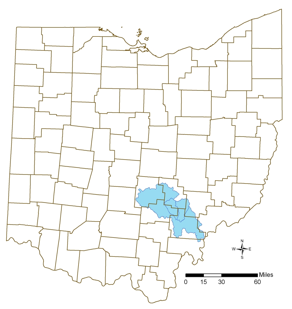 Courtesy of Ohio Environmental Protection Agency The Hocking River watershed drains a total of 1,196 square miles and flows through all or part of seven counties, including Lancaster, Logan, Nelsonville and Athens.