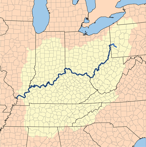 The Ohio River borders six states:  Illinois, Indiana, Kentucky, Ohio, Pennsylvania, and West Virginia.