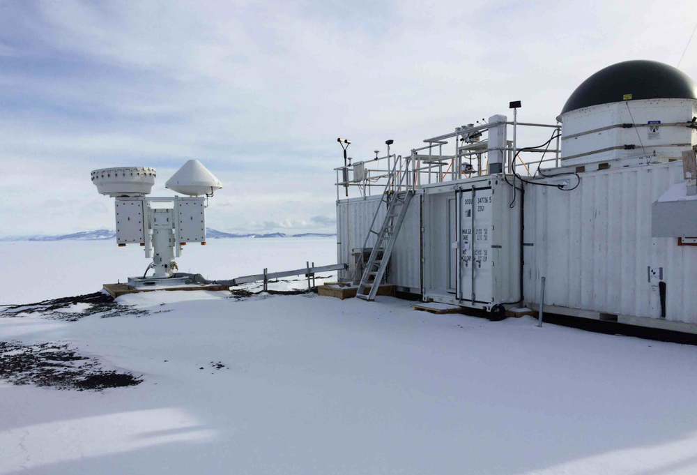AWARE scanning cloud radars and the ARM Mobile Facility near McMurdo Station, Antarctica. Credit: ARM Climate Research Facility