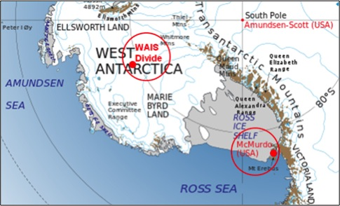 Map site of the WAIS and McMurdo Stations where AWARE instruments were deployed.