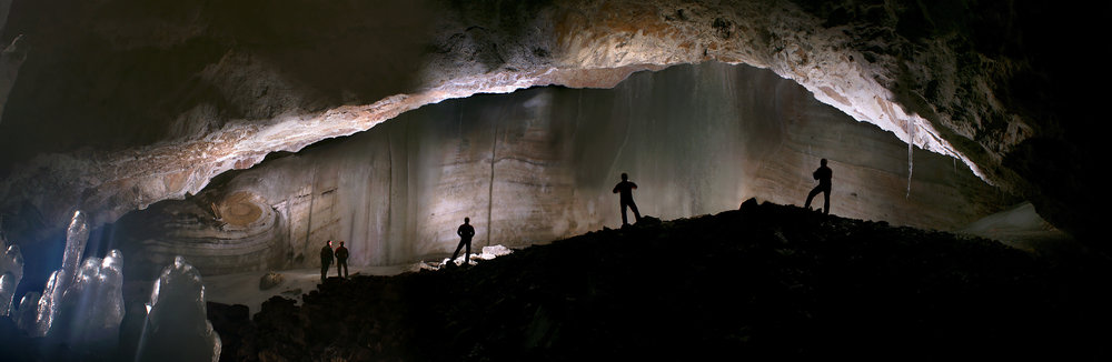 Panoramic view of an ice cliff inside the Scărișoara Ice Cave, where the research was done. Gigi Fratila & Claudiu Szabo