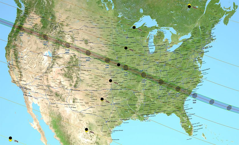 The path of totality is 70 miles wide and spans across multiple states. NASA