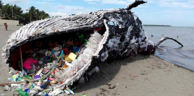 "Greenpeace Philippines sent a strong message about plastic pollution with a giant ""Dead Whale"" art exhibit.Vince Cinches"