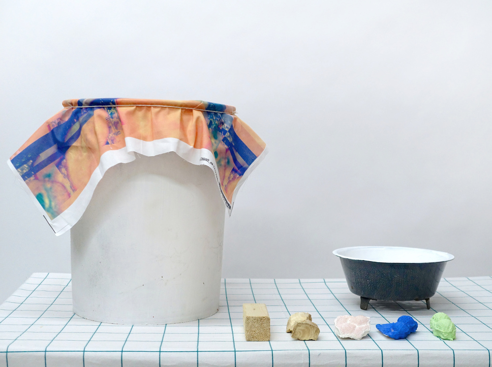 "NUKAZUKE   paint bucket, digital print on fabric, string, plaster, wood, acrylic paint, metal colander 36"" x 24"" x 14""  2014"