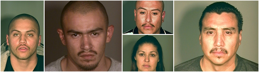 Pictured left to right: Justin Gomez (9 years, 8 months in State Prison),Jorge Espinoza (13 years in State Prison), Richard Avalos (17 years in State Prison), Lisa Archuleta (48 days in County Jail), and Fred Archuelata (25 years to life in State Prison)