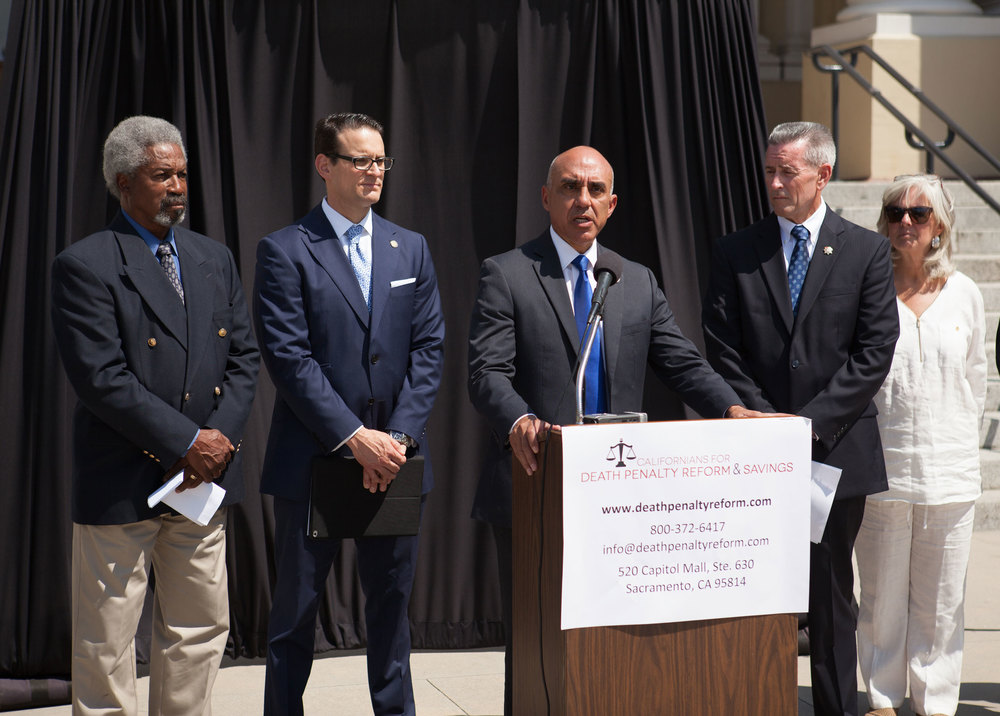 From Right to Left: Former NFL Player and Advocate Kermit Alexander, Riverside County District Attorney Mike Hestrin, San Bernardino County District Attorney Mike Ramos, San Bernardino County Sheriff John McMahon and Advocate Tami Alexander