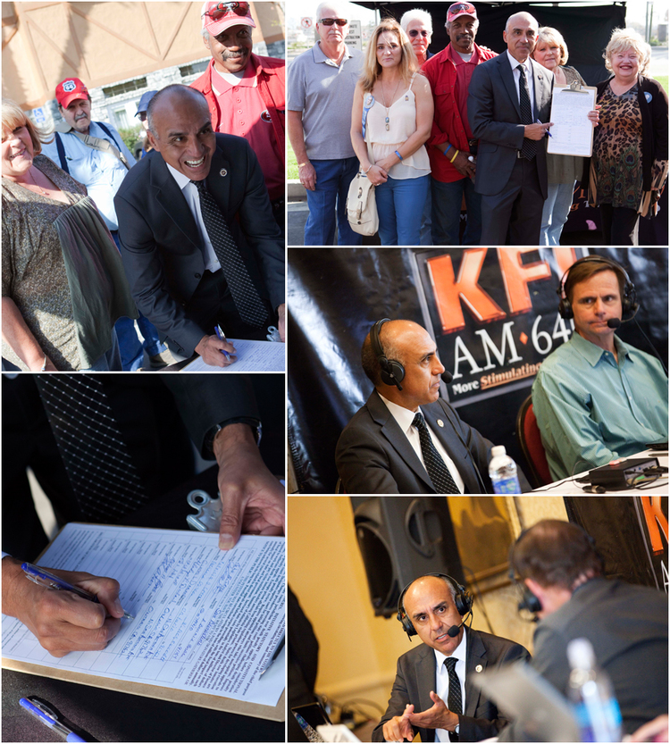 DA Ramos joined KFI AM 640 radio hosts John and Ken at the Ayres Hotel in Ontario in March to help collect signatures.