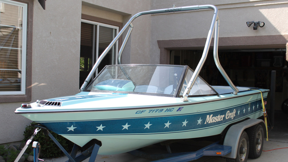 Wakeboard Tower on a 1982 Mastercraft stars and stripes