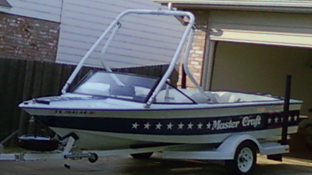 Wakeboard Tower on a 1983 Mastercraft stars and stripes