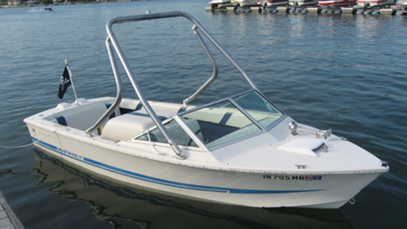 Wakeboard Tower on a 1974 correct craft nautique