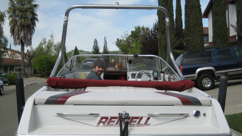 Wakeboard Tower rear on a 1993 Reinell 196 brxl
