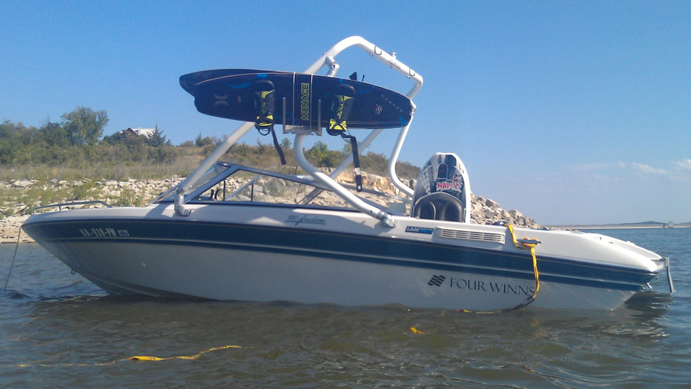 Wakeboard tower on a 1992 four winns 180 freedom