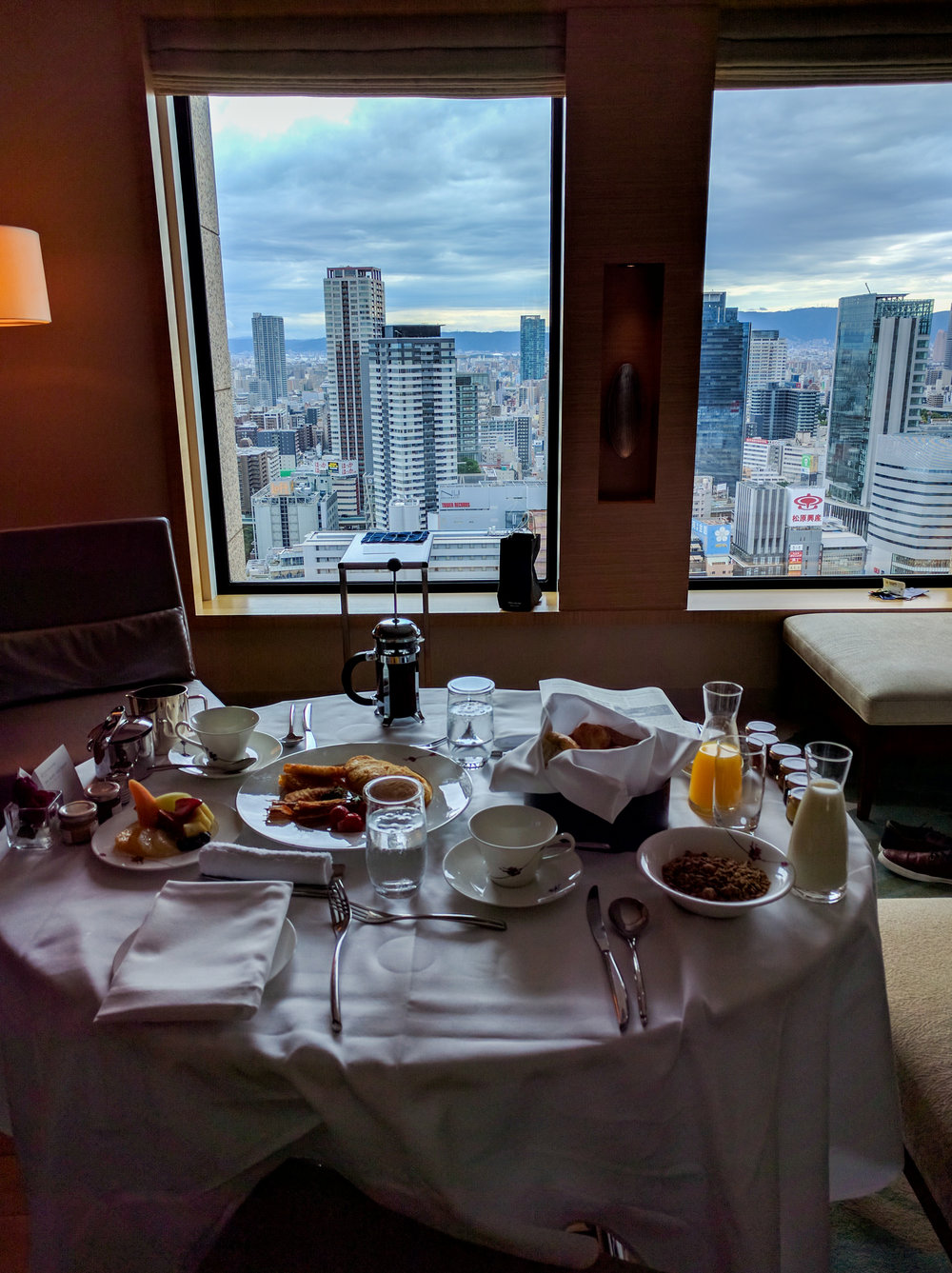 Room service at the InterContinental before heading to Umeda Sky Building