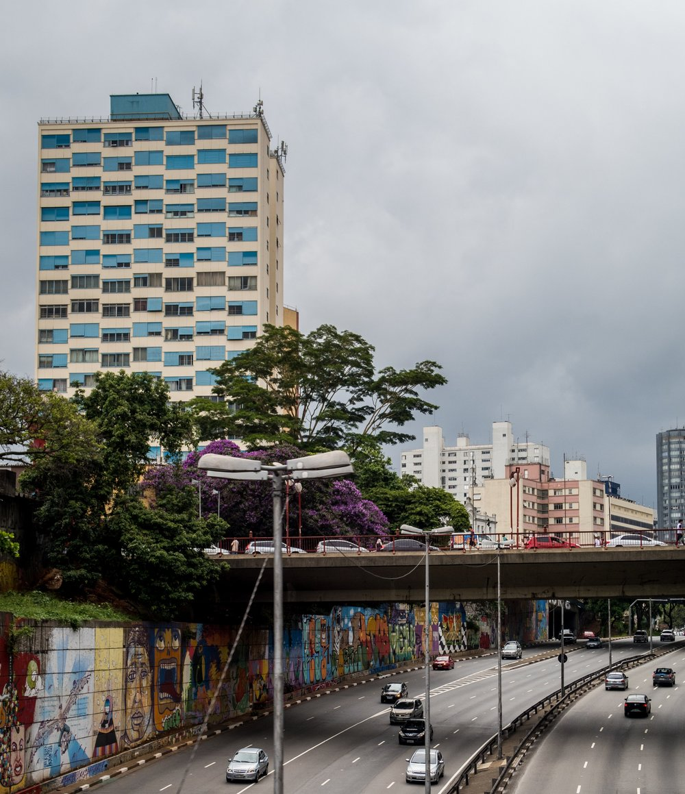 Some examples of the culturally acceptable graffiti along one of Sao Paulo's many highways
