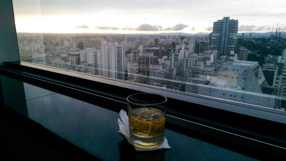 A cocktail with a view. The lounge at the Renaissance Sao Paulo