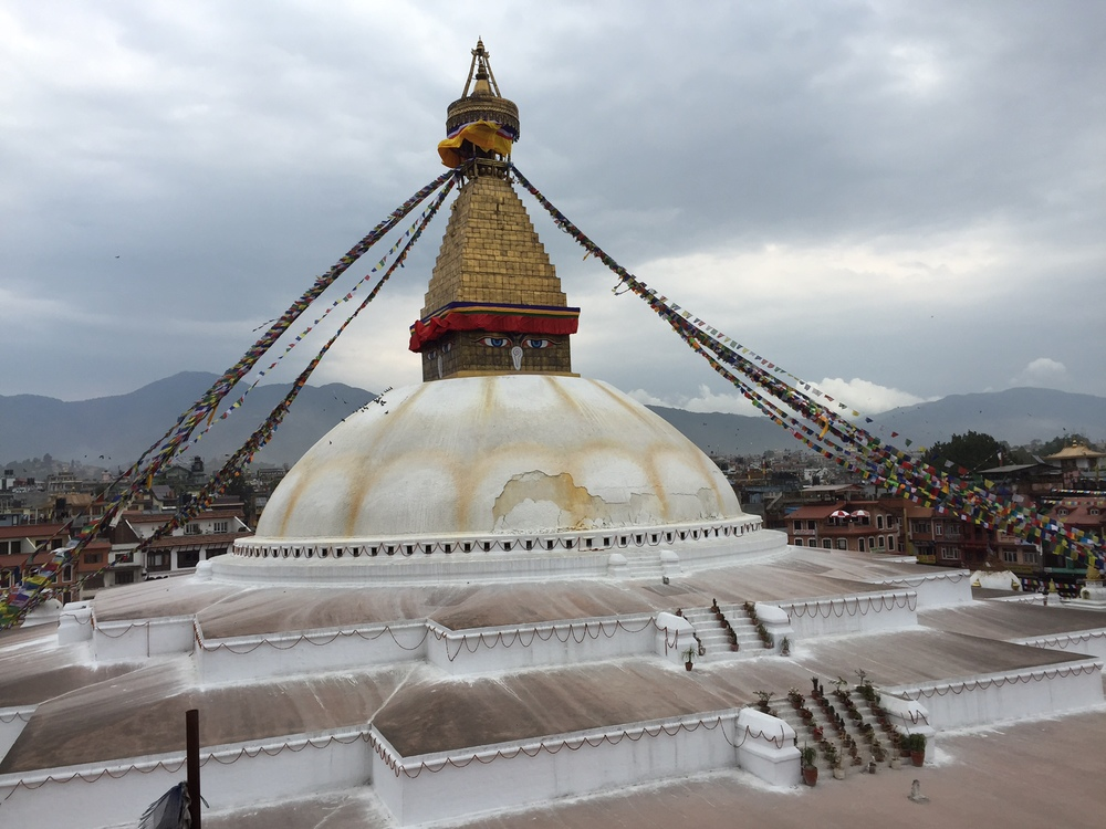 One quick picture of Boudha Stupa I took before running down after the quake.