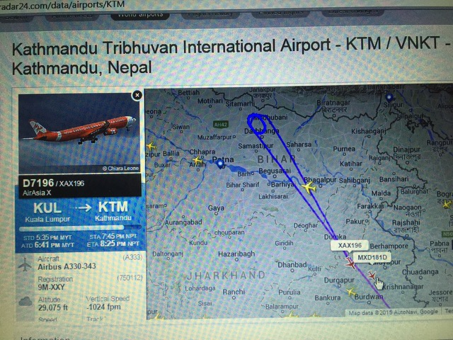 Taken by my cousin who was trying to figure out what's going on with Kathmandu's air traffic. This picture shows Airasia's diversion to Calcutta after circling Kathmandu and couldn't land, which matches the story we heard in the airport.