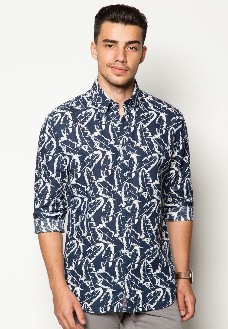 Slim-Fit Leaf-Print Linen Shirt (RM219) by Mango Man, buy here.