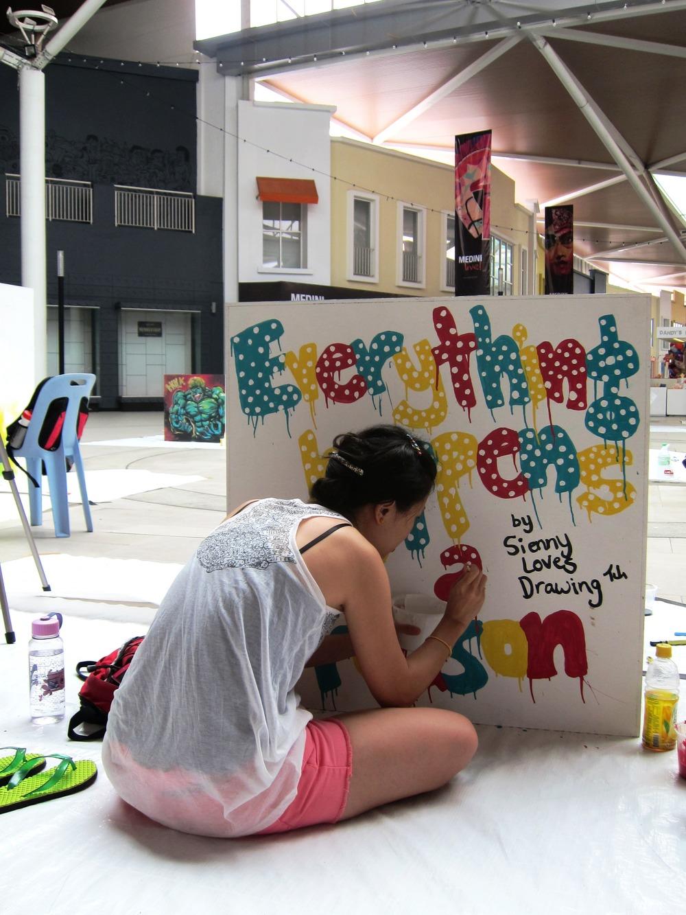 Handrawn on Wooden Cubes at Mall of Medini, Johor Bahru