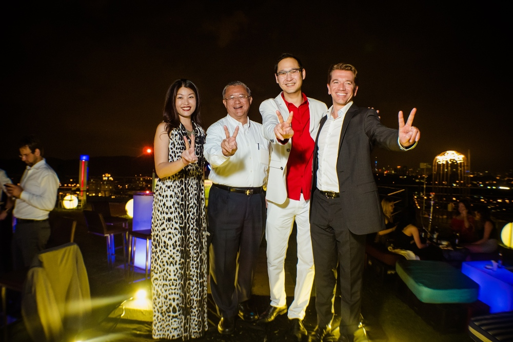 (L-R) Carolyn Teh (GM of The Roof),Tan Sri Dato Teo Chiang Kok (Director, First Nationwide Group),Dax Lee (CEO of The Roof) and Mathieu Duchemin (MD of Moet Hennessy Diageo Malaysia)
