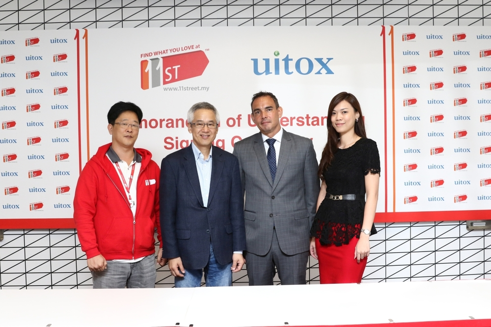 (left to right) Charlie Jeon, 11street's COO; Hoseok Kim, 11street's CEO; Robert van Lith, UITOX's Regional Director and Miko Teck, Country Manager of UITOX Malaysia are looking forward to work closely with each other to offer Malaysian shoppers the convenience of finding quality and affordably priced brands and products that they love on TW Street, UITOX's official store on 11street.