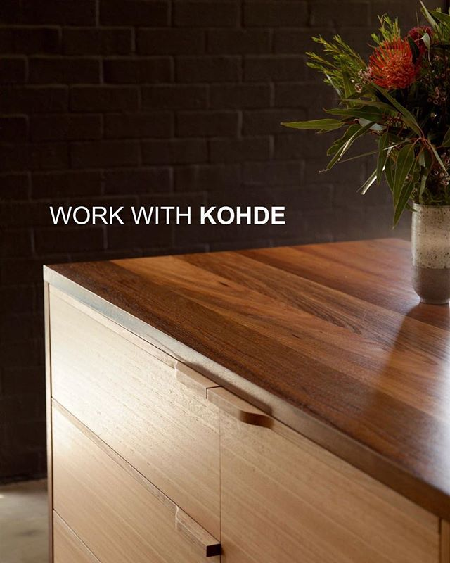 Hey YOU. Yes YOU, experienced cabinet maker, joiner, furniture maker. Come work with us at KOHDE. Very exciting times here, send us your CV and we'll tell you more.