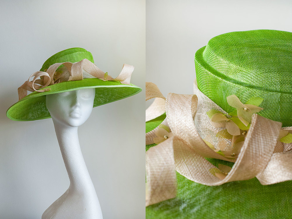 Kiran  - Classic green picture hat with flower and bead detail