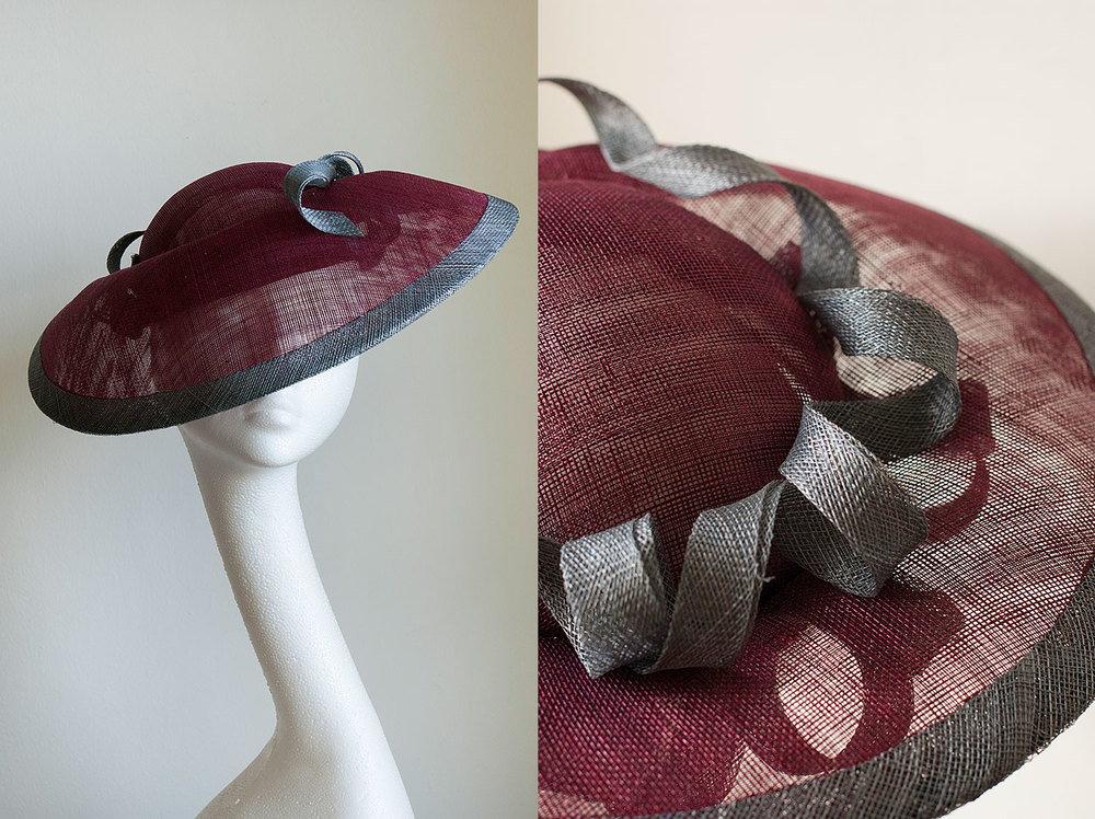 Samantha  - Burgundy and grey hat with coils