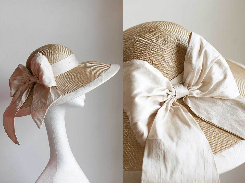 Classic picture hat with ivory silk bow
