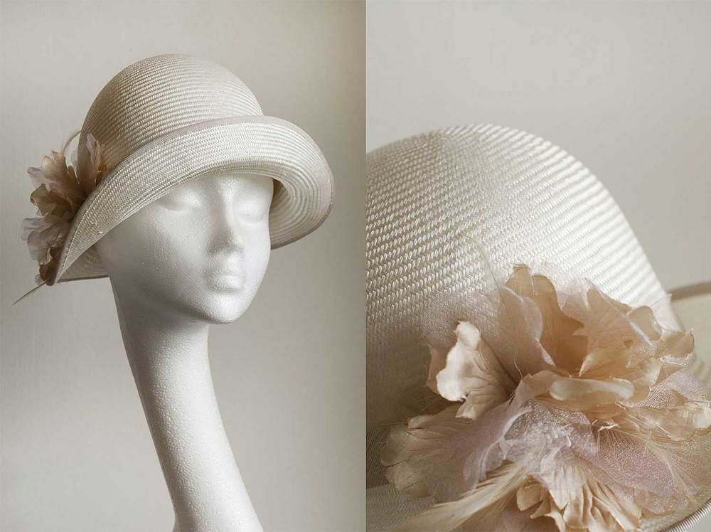 Emma  - 1920's cloche with vintage flower