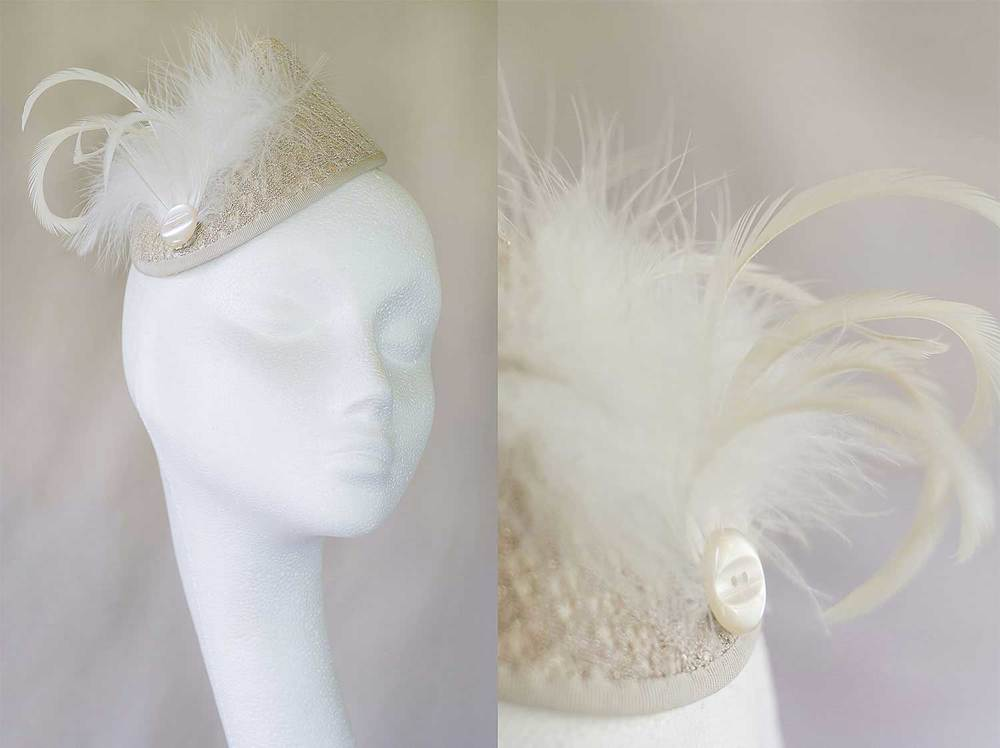 Sophie  - Gold and cream fabric hat with feathers