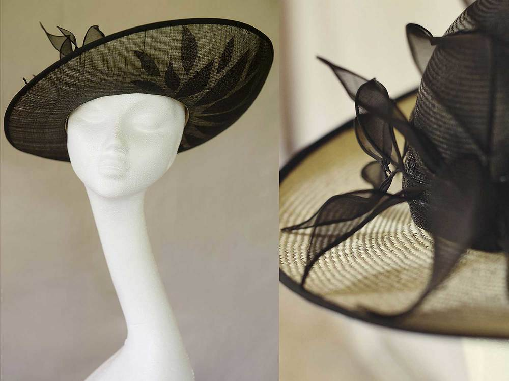 Camilla   - a classic upturned hat with leaf detail on brim and handmade organdy leaves.