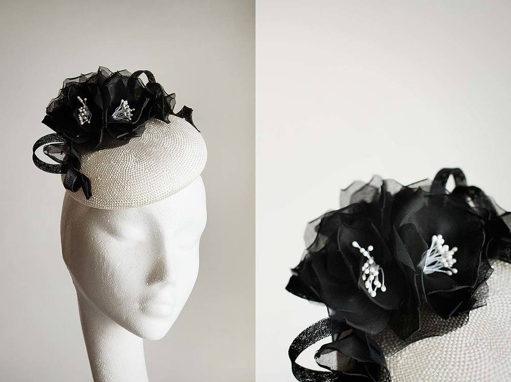 Leyla  - Ivory button with handmade black roses and coils