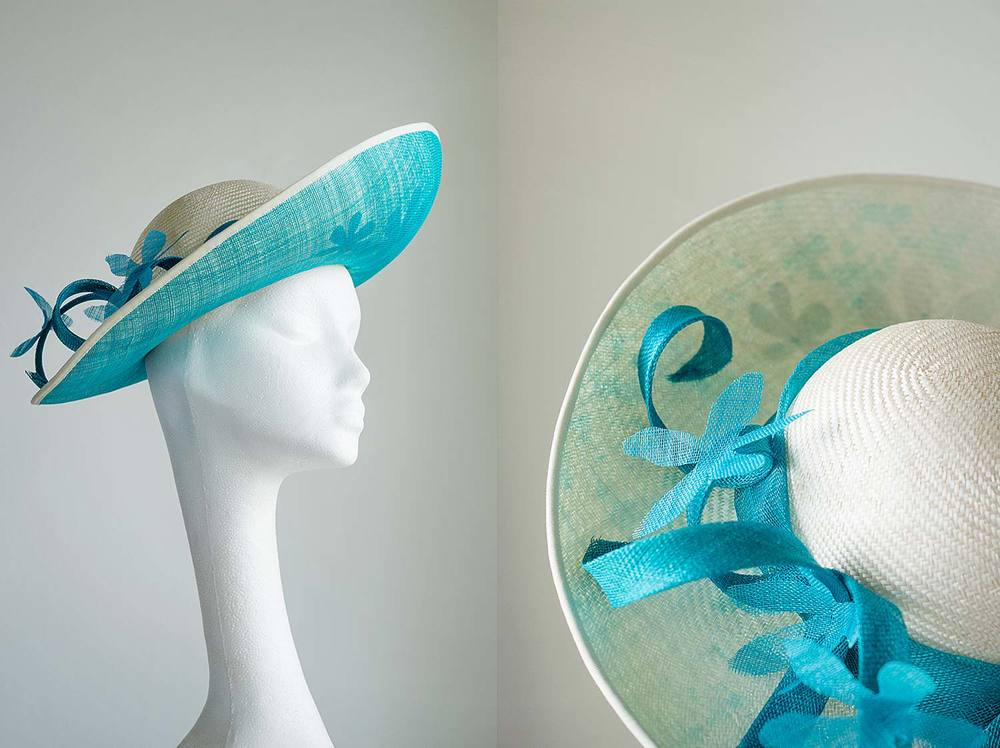 Helena   - Upturned ivory straw hat with turquoise daisy brim detail and coils