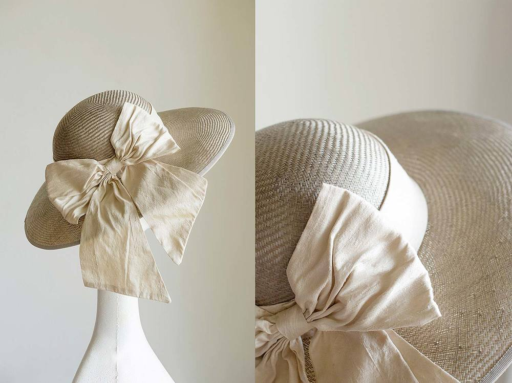 Paulina  - Mink straw classic picture hat with raw silk bow