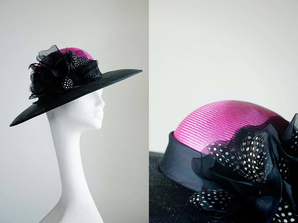 Diana   - Classic picture hat with pink crown with hand made feathered roses