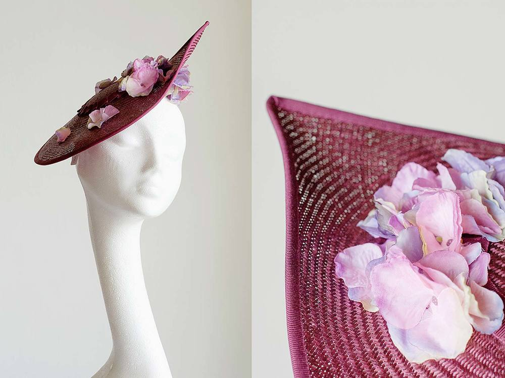 Vera   - Maroon straw upturned hat with hydrangea flowers