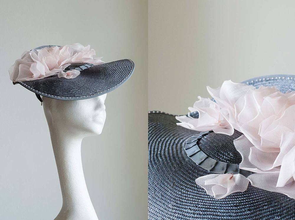 Hettie - Grey hat with handmade organdie pink roses
