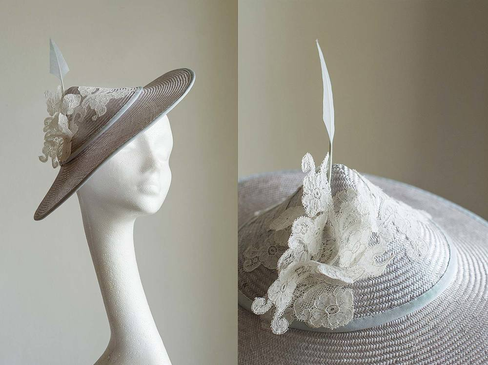 Ester   - Straw hat with Vintage lace detail and feather quill