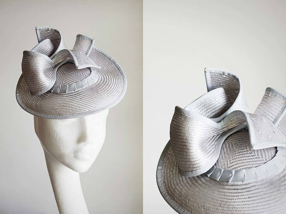 Catherine  - Pale blue folded straw hat with bow and tails