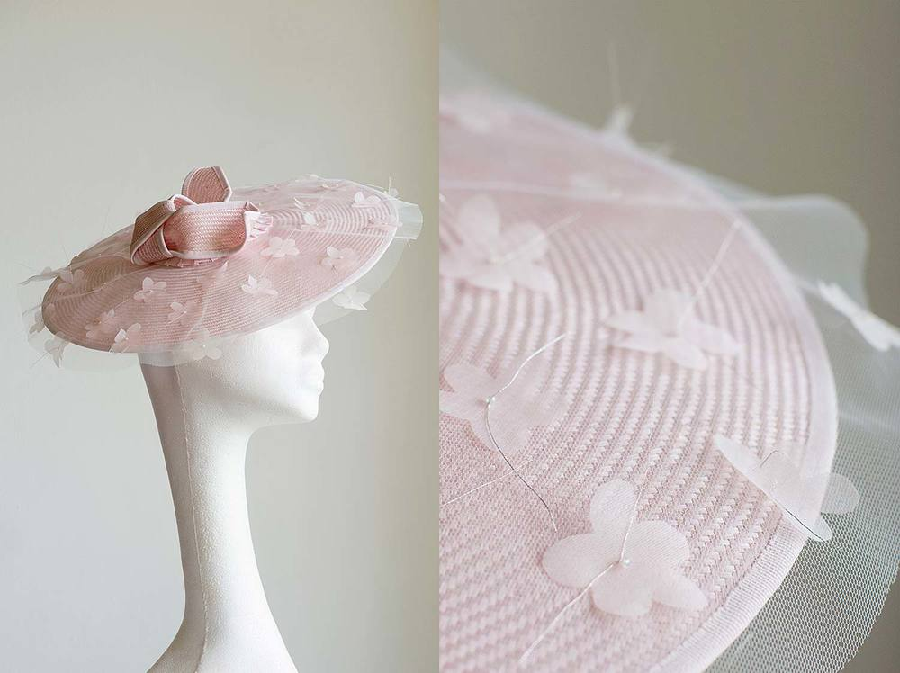 Cherry  - Pale pink straw with tails and organdie cherry blossom on tulle