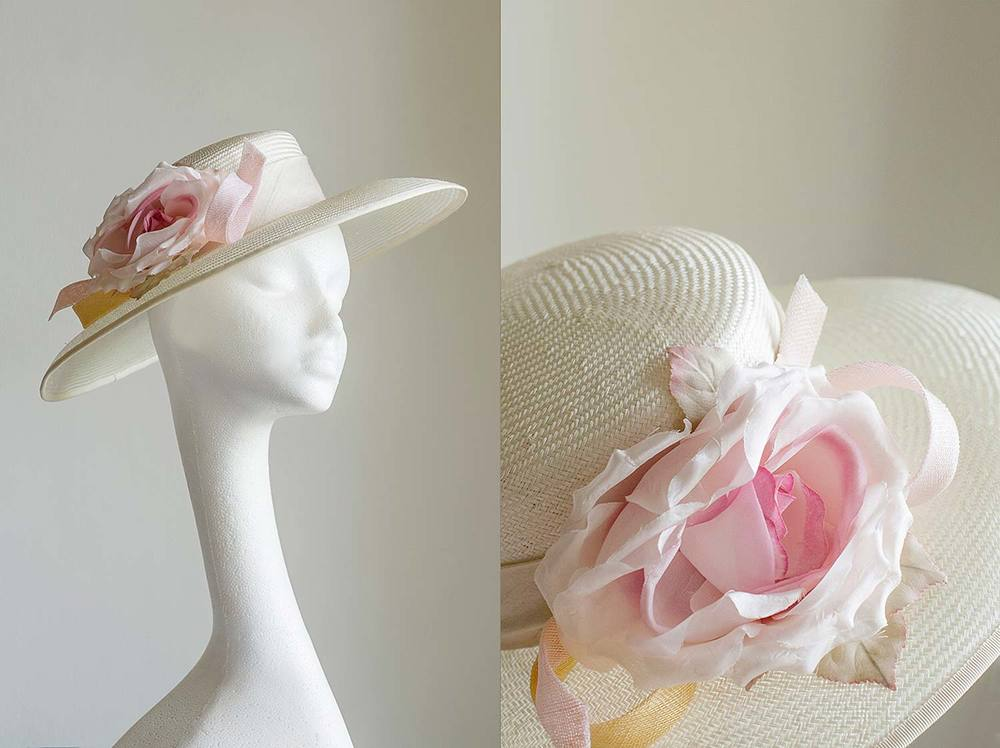 Veronica - Ivory boater with pale pink silk rose and sinamay coils