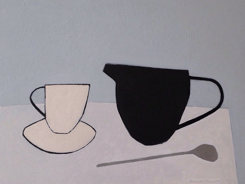 pink cup and saucer, black jug, silver spoon acrylic on wood board 30,5x40,5 cm ( sold )