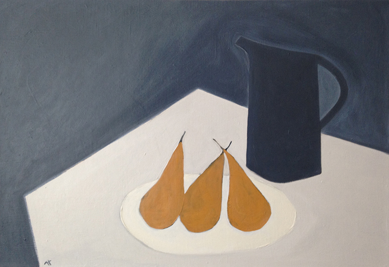 still life with pears acrylic on linen canvas 46x66 cm 2016 (sold)