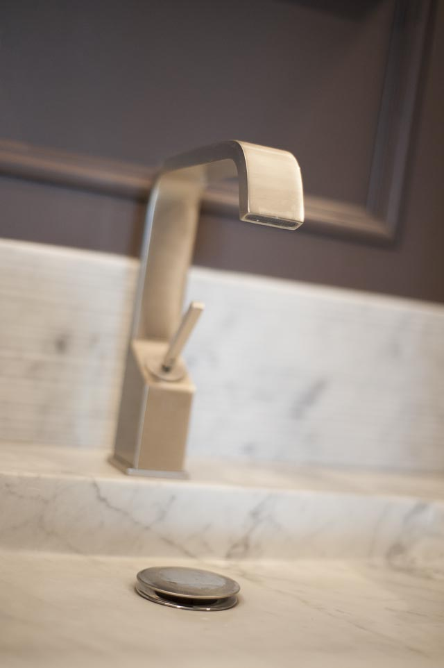 Brushed Metal Tap and Marble Basin