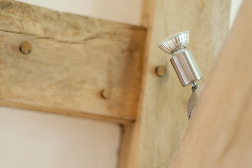 Oak Timber Frame Detail with Angled Spotlight