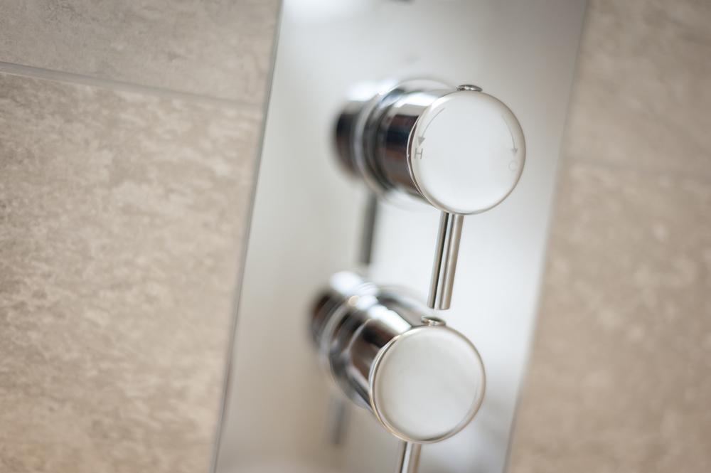 Detail of Polished Chrome Shower Controls