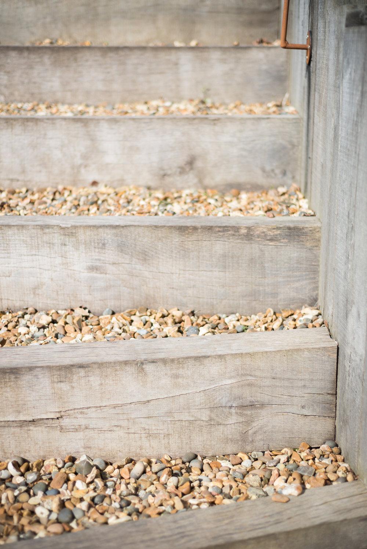 Weathered Oak Post and Shingle Garden Steps