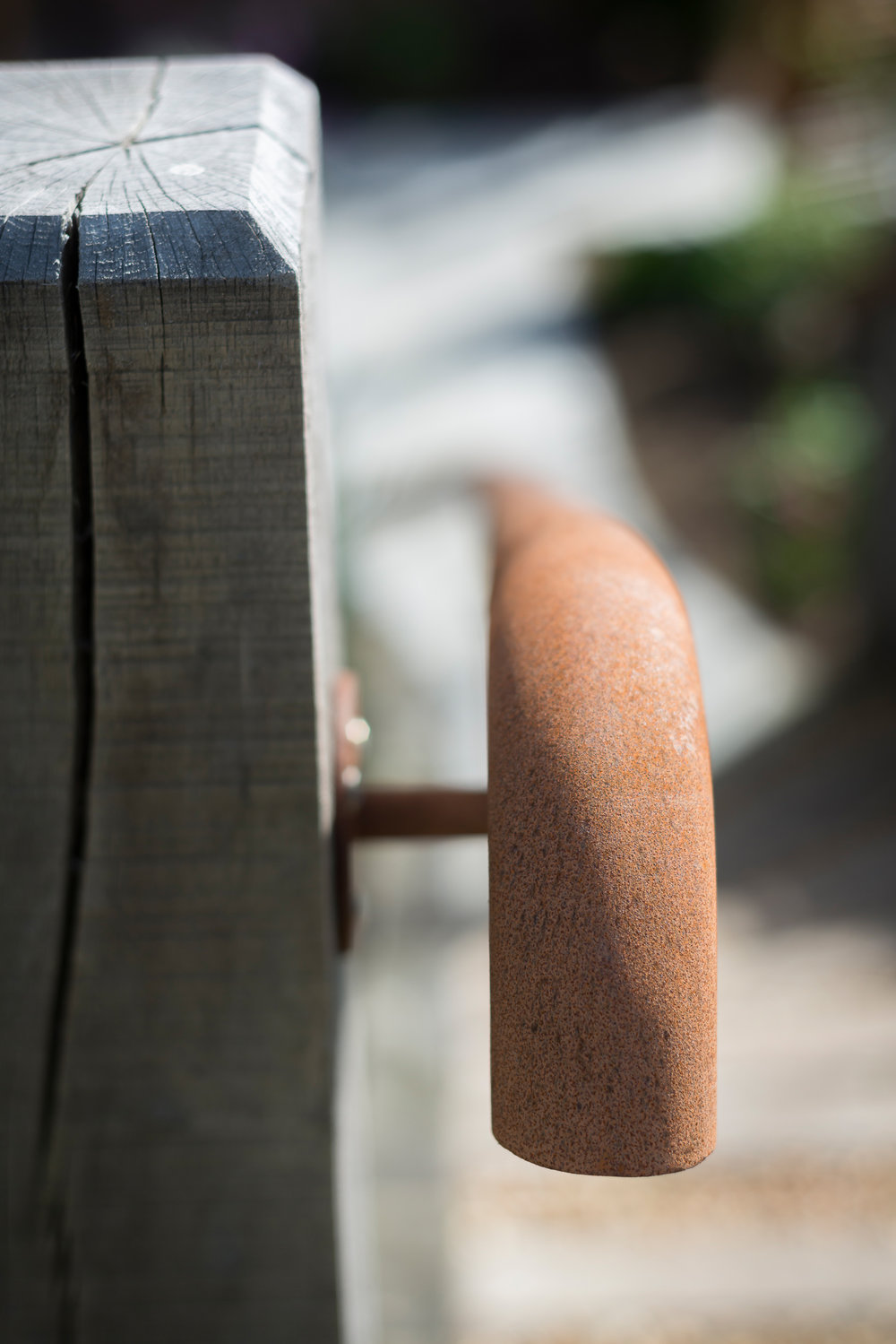 Weathered Oak Post and Rusted Hand Rail Detail
