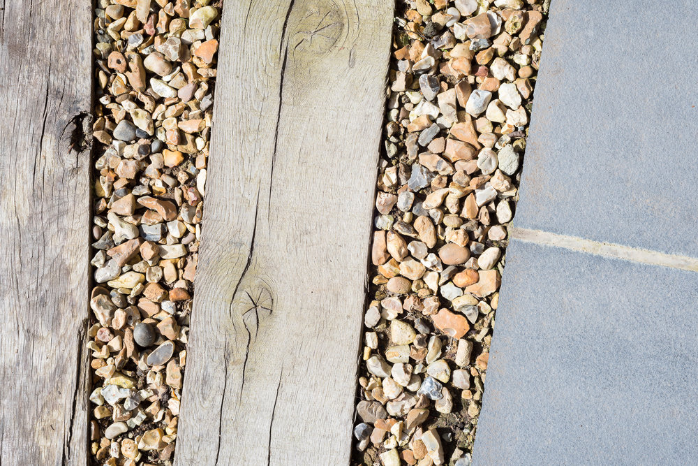 Oak and Shingle Pathway to Indian Stone Steps